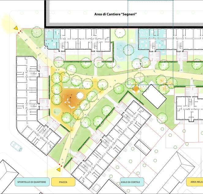 I cortili la nuova organizzazione degli spazi g124 for Piani di costruzione di edifici residenziali in metallo